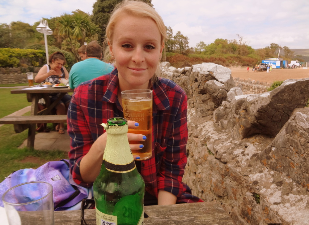 Hannah topping up her cider levels :P
