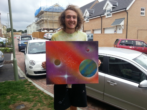Me happy after completing my first spray painted painting! 'Orange Spike'
