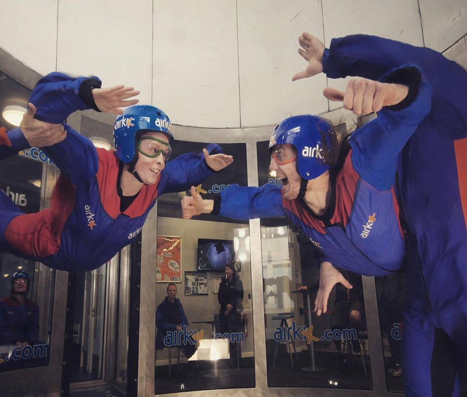 indoor skydiving couple
