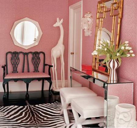 classical-foyer-ideas-for-different-lobbies-bench-console-table-foyer-hall-pink-walls-zebra-rug-decor-jonathon-adler-home-decorating-interior-design.jpg