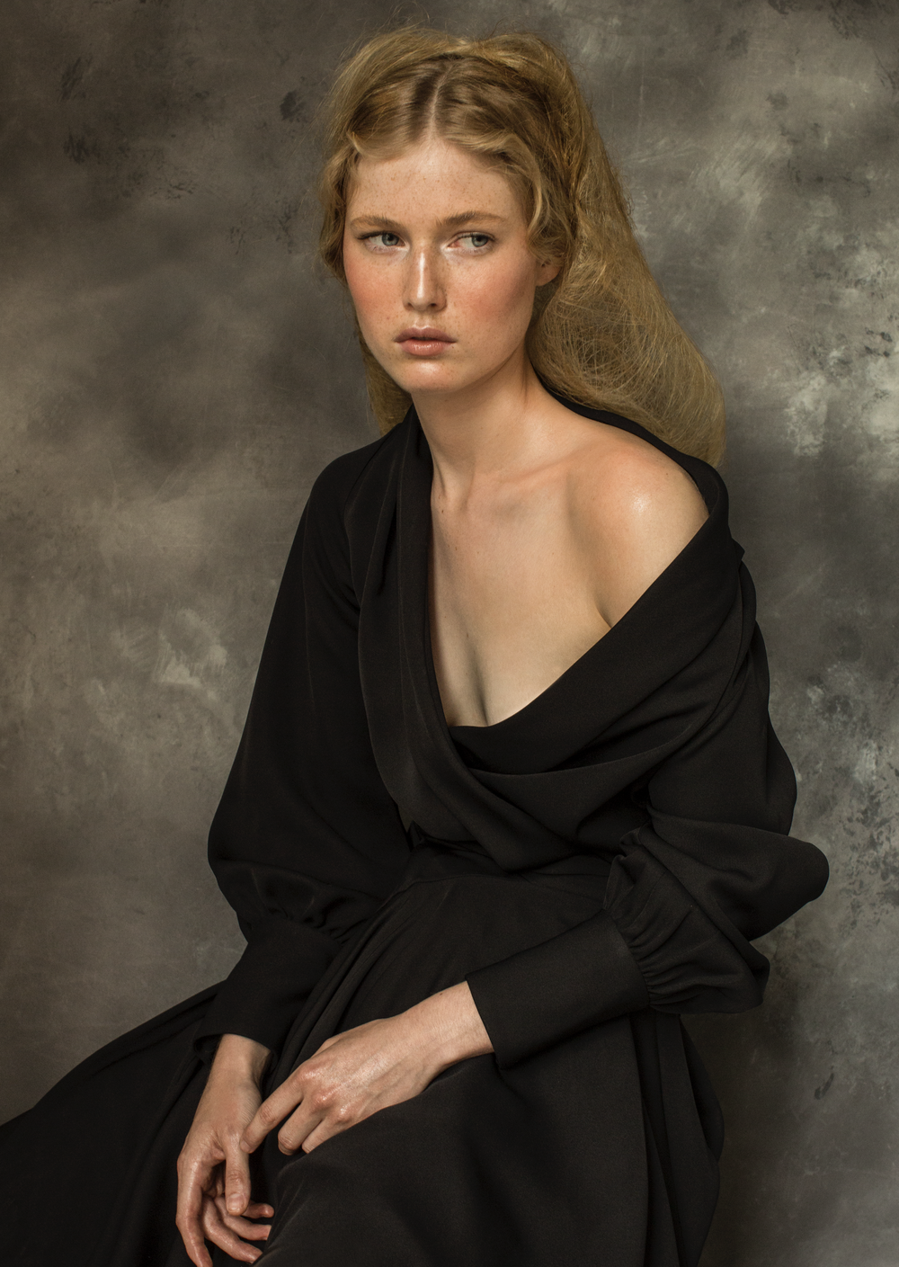 Long Sleeve Wrap Dress- GERALDINE LUSTGARTEN SS18, Photographer Andres Oyuela Stylist David Chicaeme- Make up Eric Vosburg- Hair Akihisa Yamaguchi- Agency Wilhelmina Models