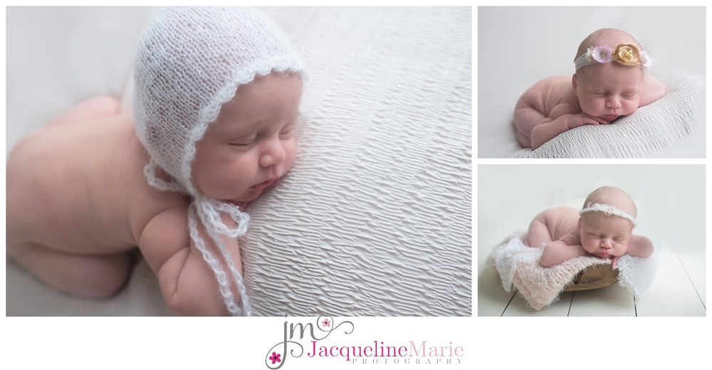 Columbus ohio Newborn Photographer features images of baby girl wearing white knit bonnet and baby sleeping in wood bowl for newborn baby pictures
