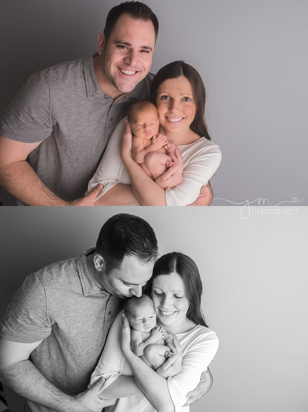 Mother and father hold newborn baby boy with joy in Columbus Ohio for newborn pictures