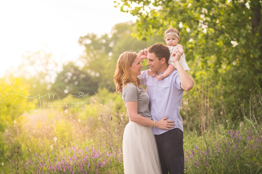 Columbus family photographer, outdoor family photography, sunset family session, family of three, Ohio sunset photography