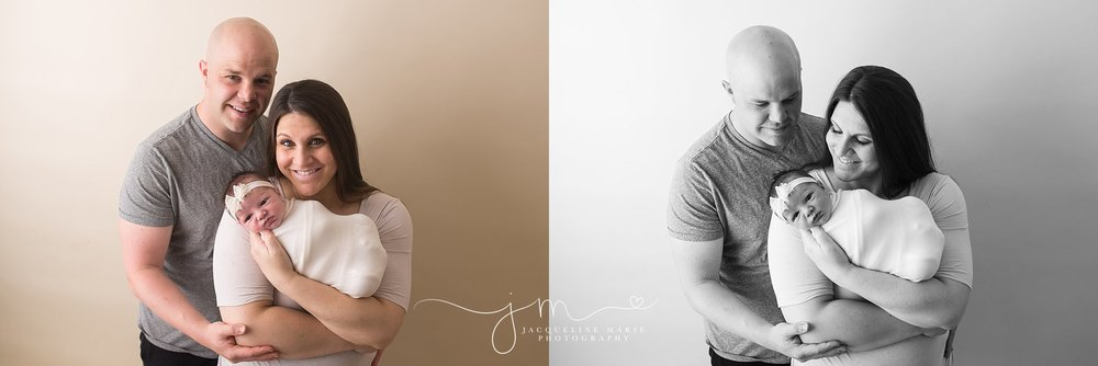 Columbus Ohio parents welcome newborn baby girl for portraits at Jacqueline Marie Photography studio in Columbus Ohio
