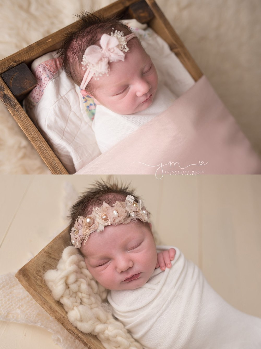 Soft pastel and neutral colors are featured in newborn portrait of sleeping two week old baby girl in Columbus Ohio