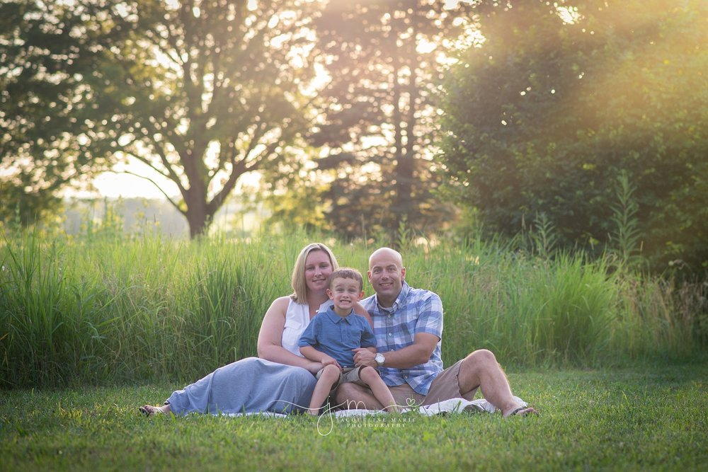 outdoor family photography, sunset family photography Columbus, Columbus Ohio family photographer, family portrait, family of three pose