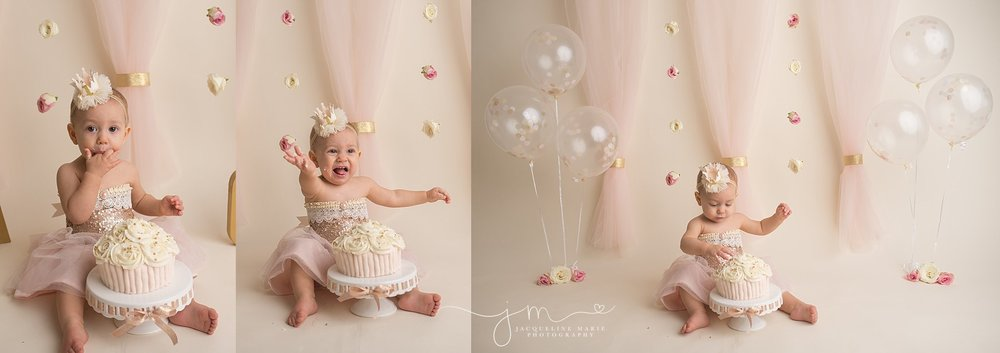 Columbus childrens photographer, First birthday portraits, Columbus baby photographer, Columbus Ohio first birthday photographer, Cake smash pictures, pink and gold birthday, gold and pink cake smash photo