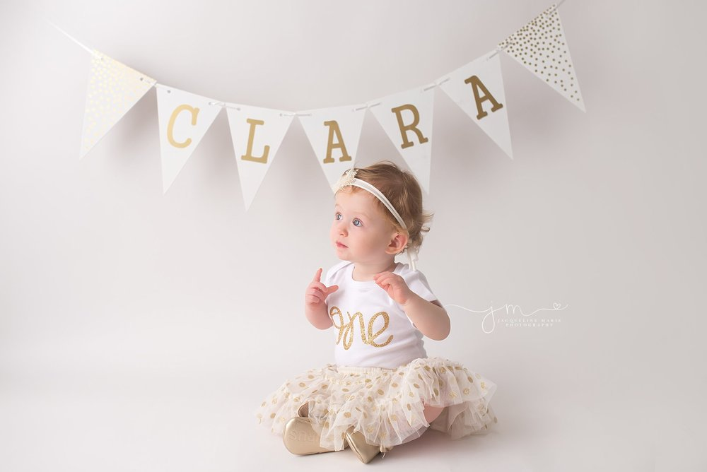 Columbus Ohio photographer, Columbus children photographer, first birthday portraits Columbus OH, white and gold first birthday, first birthday pictures, one year pictures