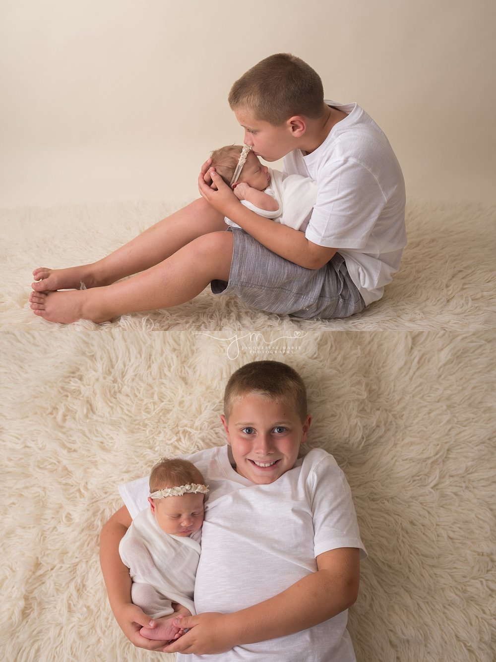 Big brother holds newborn baby sister on cream fur rug for portrait at Jacqueline Marie Photography in Columbus Ohio