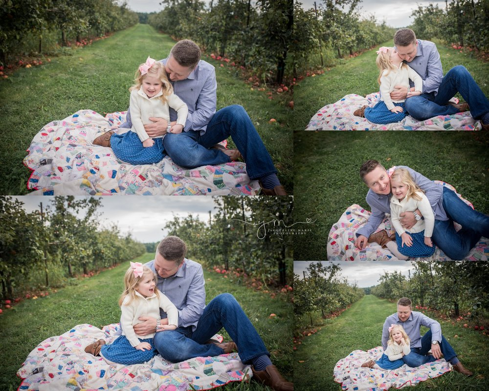 Columbus Ohio family photographer, Columbus family photography, apple orchard session, fall family portraits Columbus, Columbus Ohio photographer, father and daughter pose