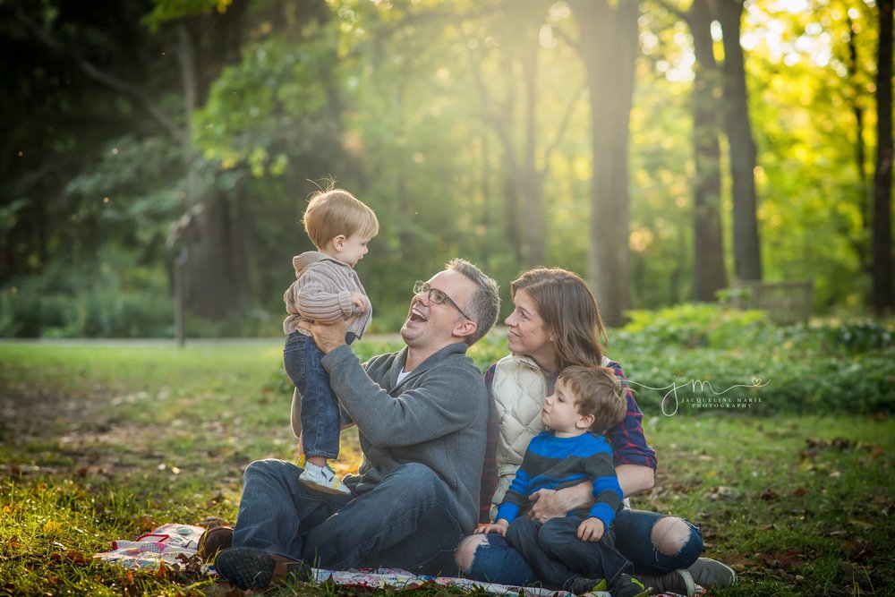 Columbus family photographer, Columbus Ohio photographer, fall family portraits, outdoor family photography, family of four pose
