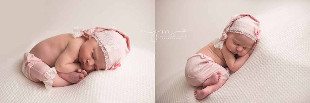 12 day old newborn baby girl wears pink lace hat for portrait session with Jacqueline Marie Photography in Columbus Ohio