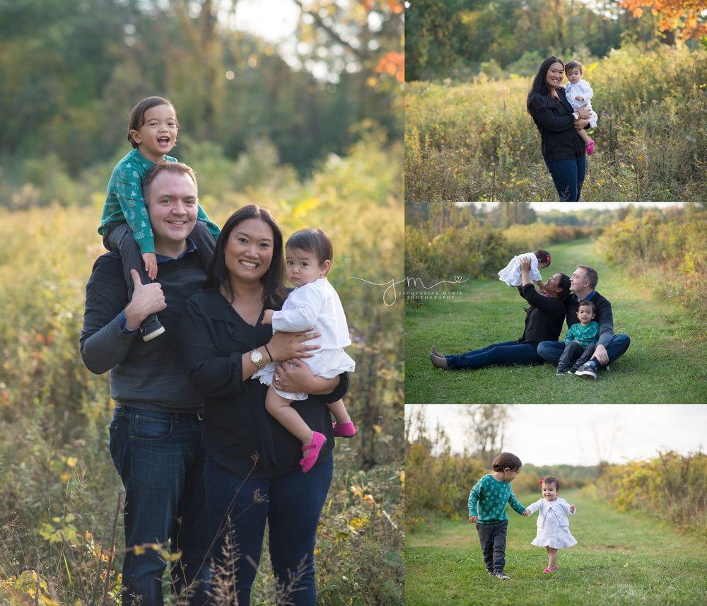 Outdoor-fall-family-photos-feature-mother-father-and-children-smiling-by-JacquelineMariePhotography-photo-studio-Columbus-Ohio