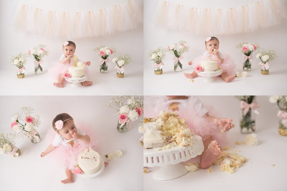 Children photographer Columbus OH, children photography Columbus Ohio, first birthday photographer Columbus, cake smash photography, pink and gold cake smash, first birthday pink and gold
