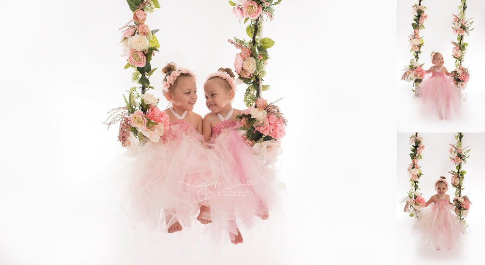 twin sisters sophia and elliana wears hot pink tutu dress with pink floral head piece for portrait in columbus ohio