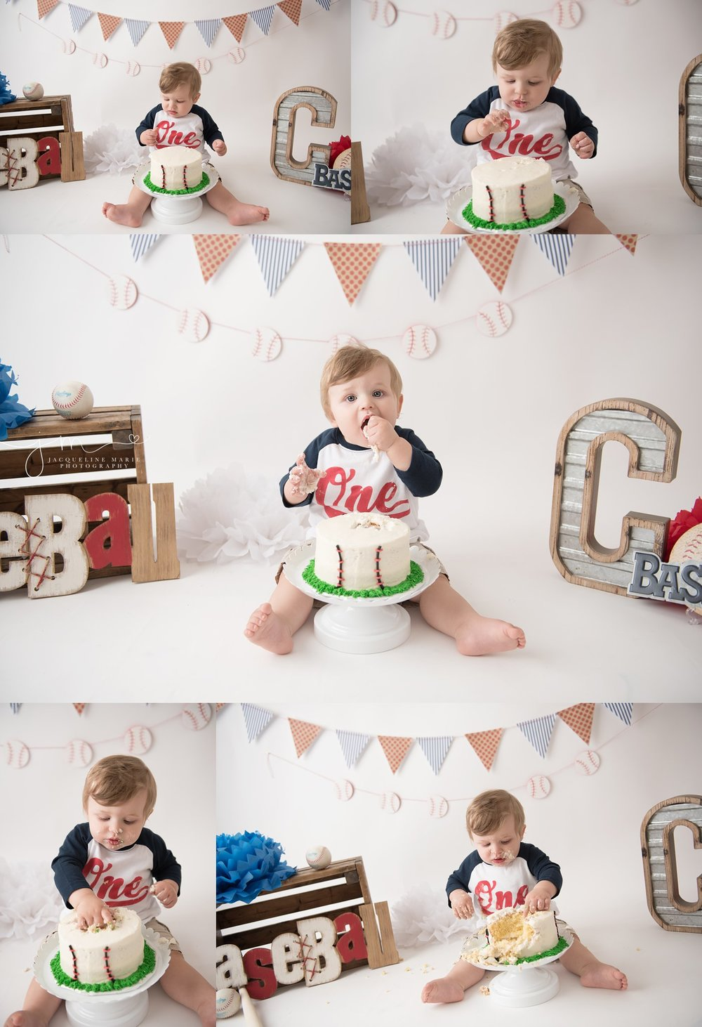 columbus ohio first birthday and cake smash photographer features baseball themed images and bay eating cake for cake smash photography at jacqueline marie photography studio