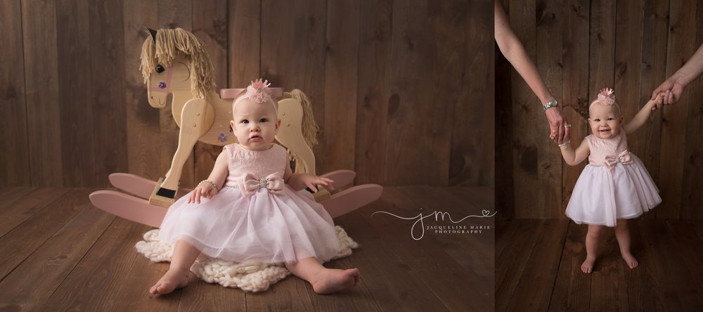 first birthday milestone photographer features baby girl standing and holding hands with her parents and sitting with a rocking horse in columbus ohio