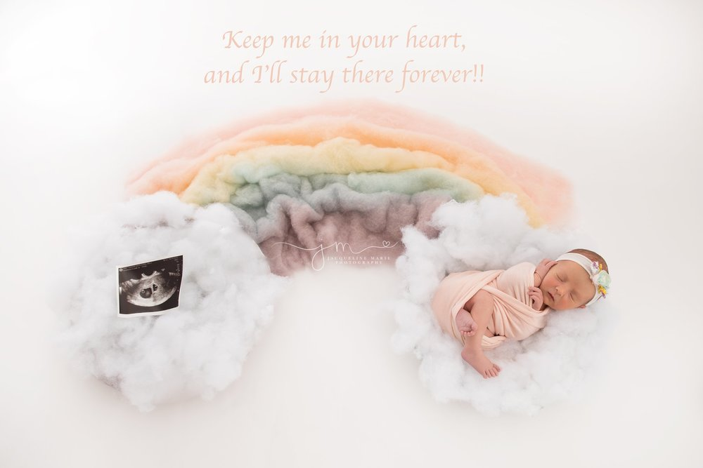 columbus ohio newborn photographer features baby girl in rainbow setup as rainbow baby