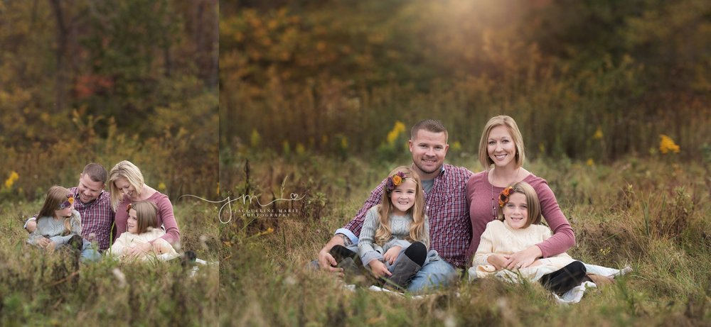 columbus ohio family photographer features image of family of four snuggling on blanket in field grass for outdoor fall family photography