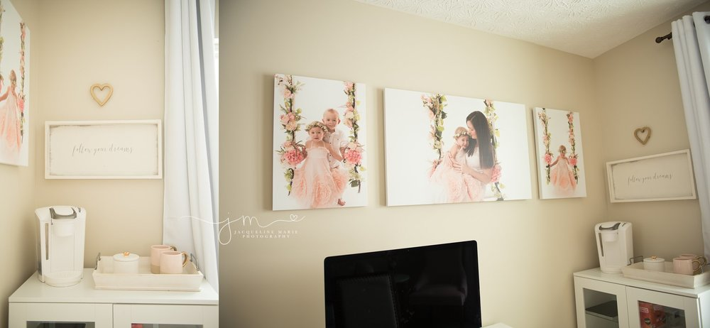 newborn photography studio inspiration with canvas displayed on wall in columbus ohio