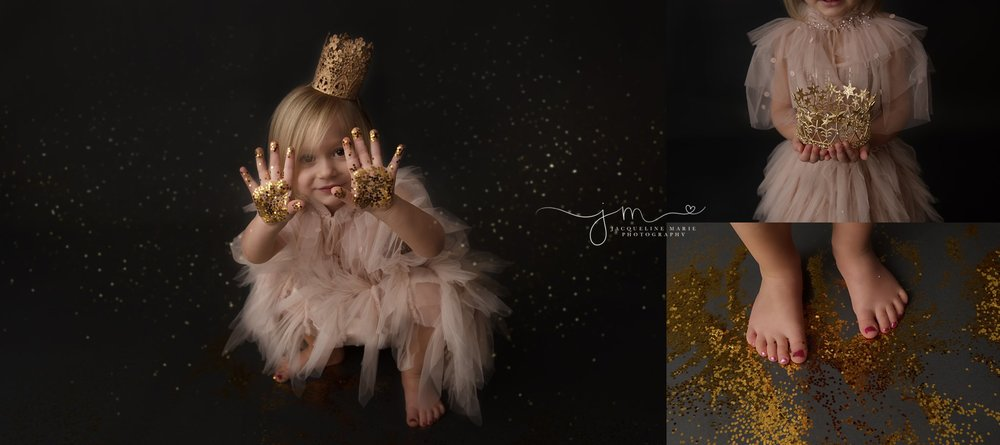 pink and gold colors for glitter photography session wearing tutu du mode dresses in columbus ohio