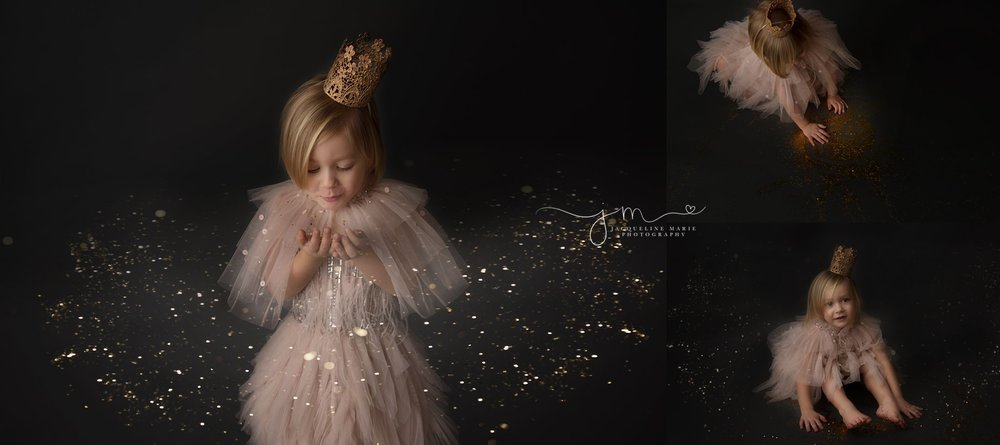 glitter session for third birthday wearing a tutu du mode dress with gold glitter in columbus ohio