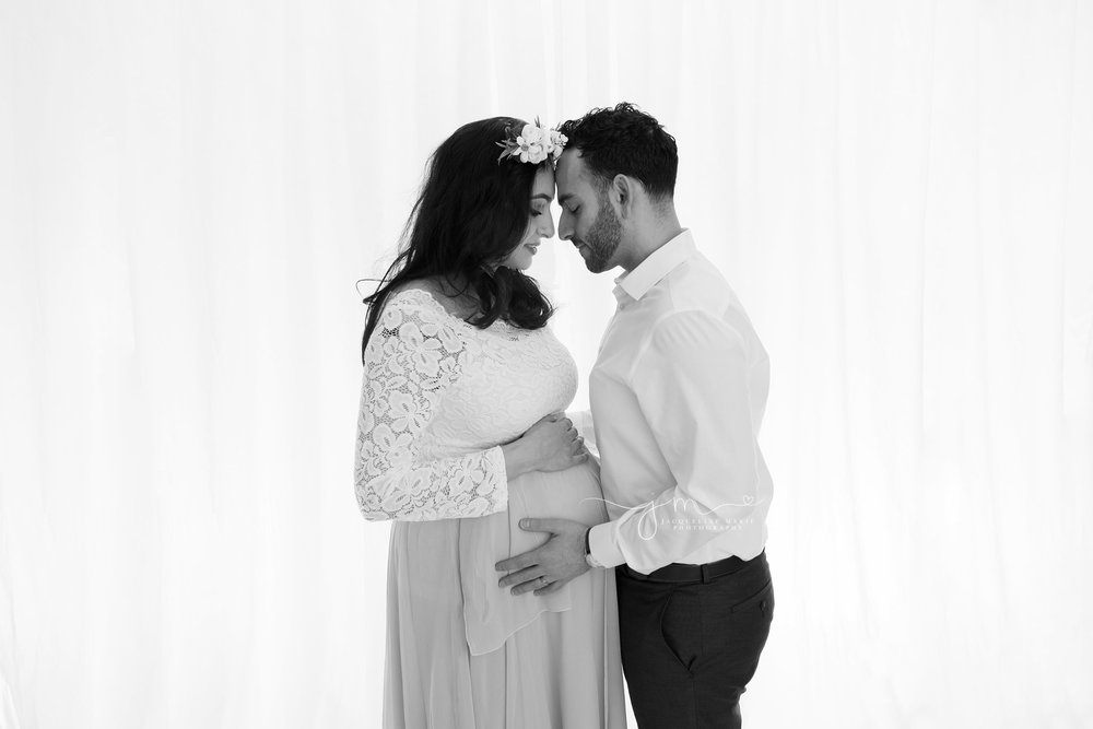 black and white backlighting maternity studio image in columbus ohio