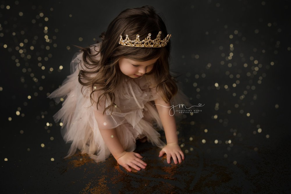 glitter photo shoot in columbus ohio with tutu du mode dresses and gold crowns