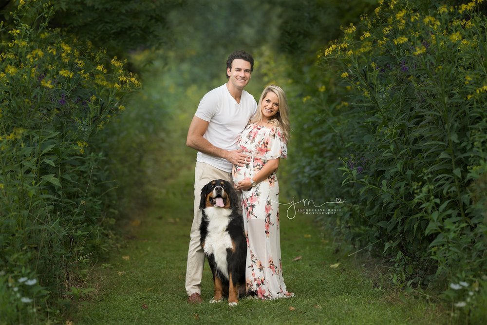 pregnancy photo session in columbus ohio of new parents to be with their dog