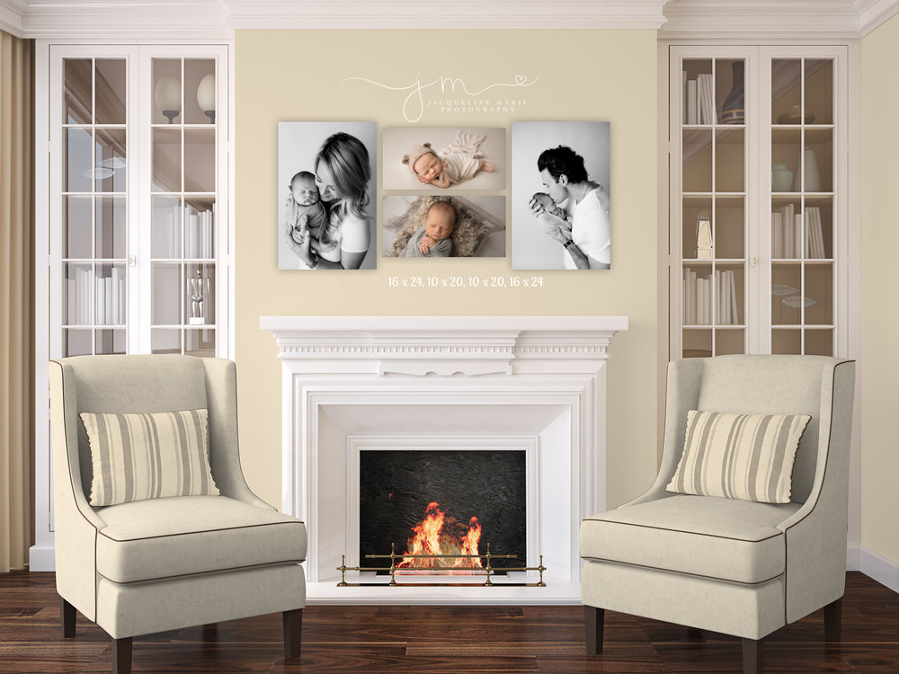 newborn photography images from jacqueline marie photography's portfolio displayed on canvas above fireplace in columbus ohio
