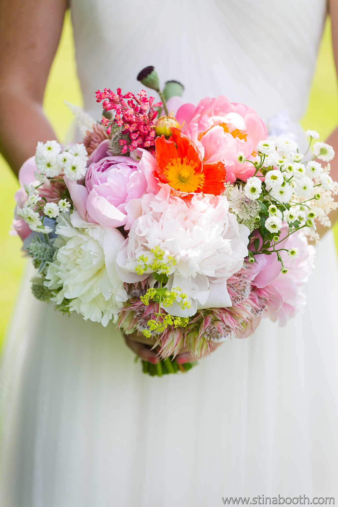 Colorful bouquet of poppies and peonies by Erin Ostreicher Designs | Studio SB