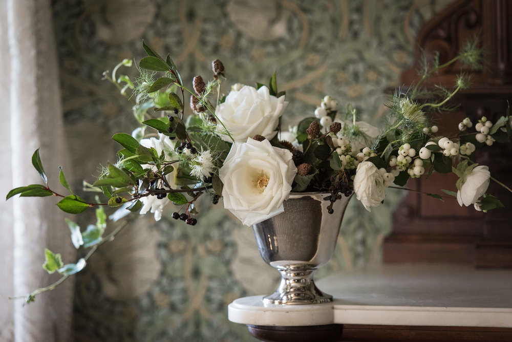 Centerpieces and decorations by Nectar & Root | Wedding floral design services in Burlington, Vermont (VT) | Garden roses, snowberries, ranunculus
