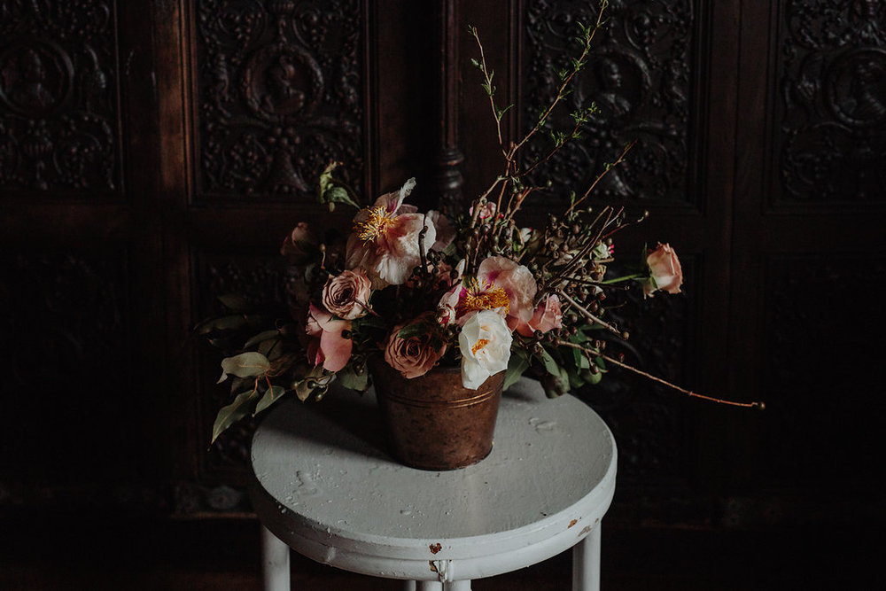 Centerpieces and decorations by Nectar & Root | Wedding floral design services in Burlington, Vermont (VT) | Peonies, garden roses, eucalyptus