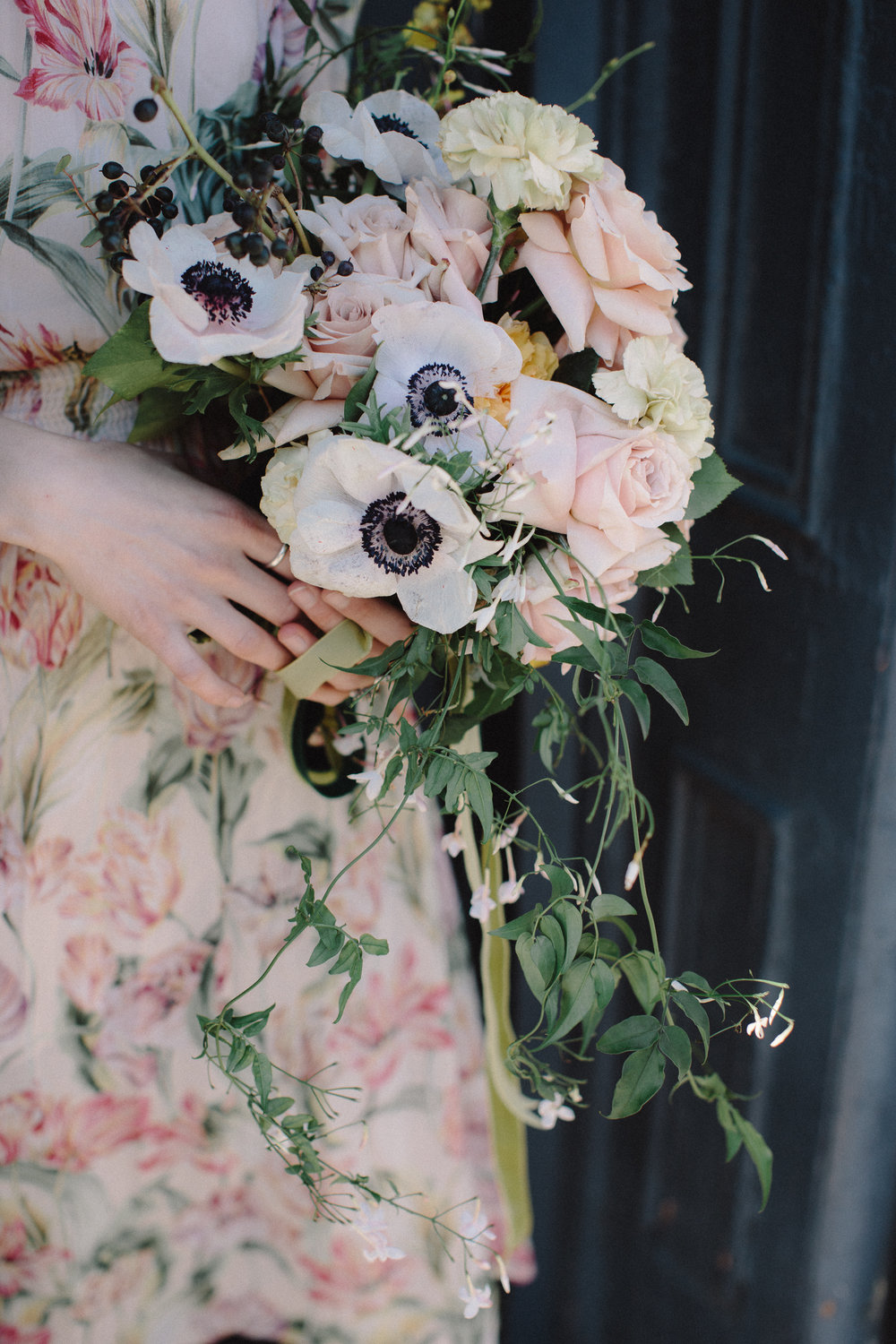 Spring wedding flowers by Nectar & Root | Wedding floral design services in Burlington, Vermont (VT) | Blush and yellow bridal bouquet of anemones, garden roses, jasmine
