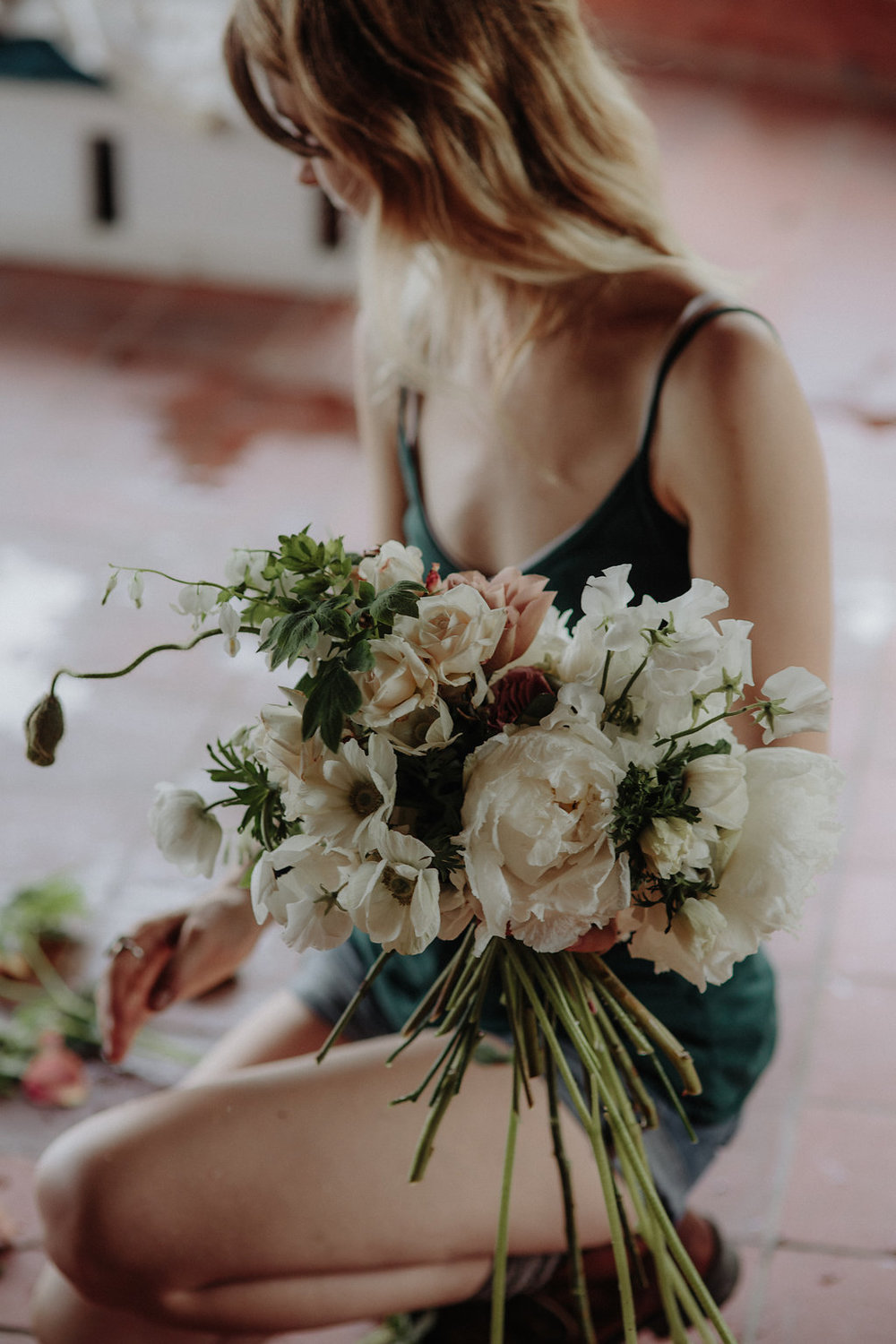 Floral design process by Nectar & Root | Wedding floral design services in Burlington, Vermont (VT) | Cream bridal bouquet of peonies, garden roses, and poppies