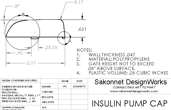We also completed a detailed engineering drawing for injection molding.