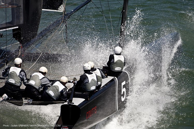 The team of ORACLE prepares the boat for racing