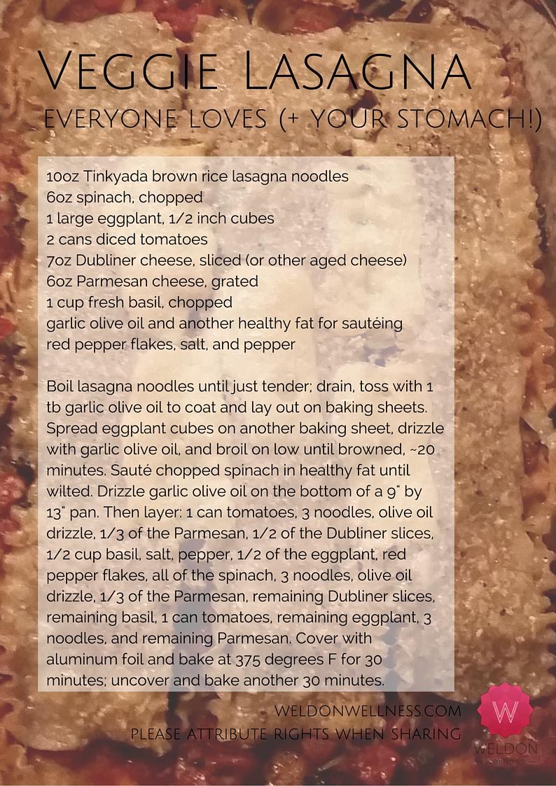 Veggie Lasagna (GF, EF, NF, LF)