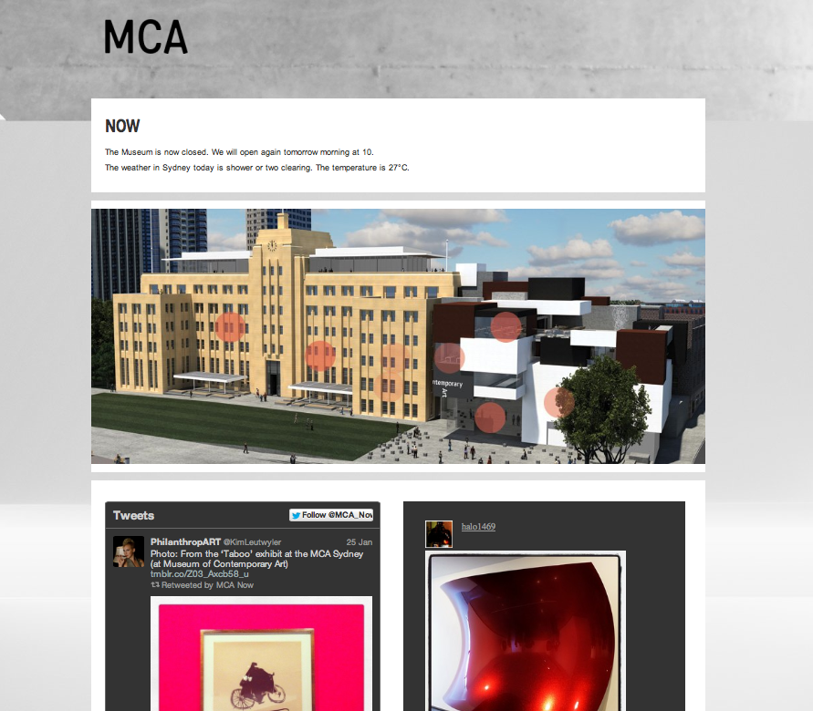 Early stages of MCANow page. We used a 3D rendering of the museum with red dots to show wifi access points. This part of the site has been changed to a relevant image of the MCA
