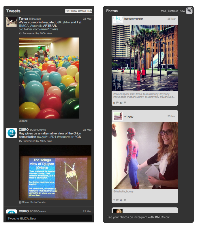 Twitter and Instagram widgets for MCANow