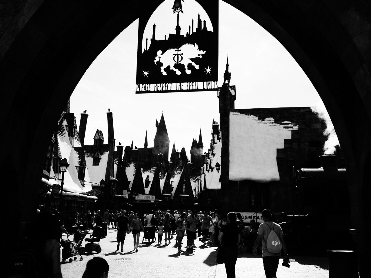 The entrance to Hogsmeade.