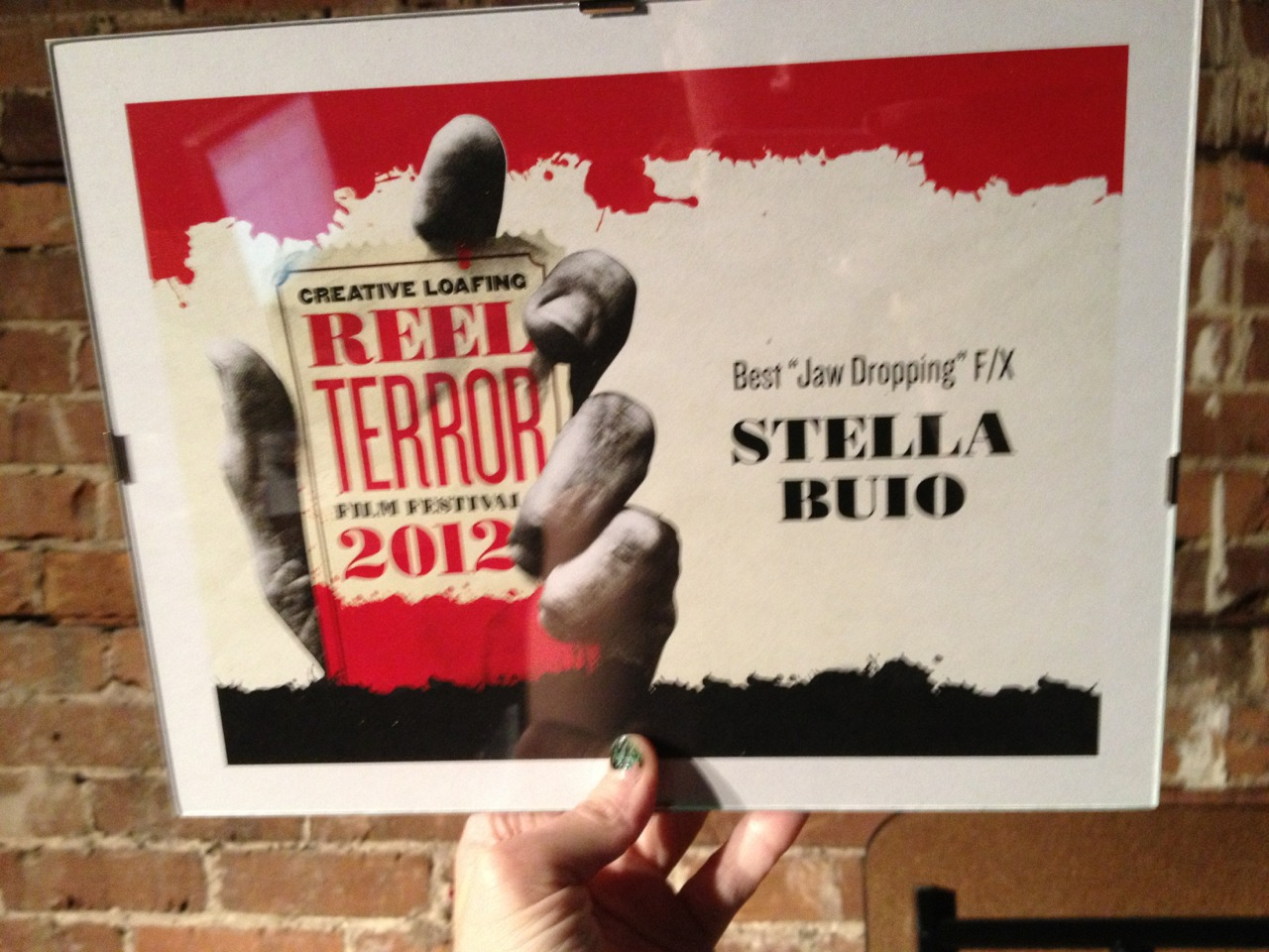 "We won Best ""Jaw Dropping"" FX at Reel Terror! Woohoo!"