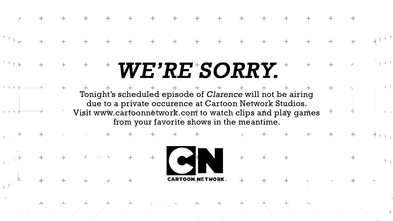 holothewolf-x :      etoapia :      kiltyascharged :      starwhal :      heyyo-sam :      out-of-my-interest :     Clarence     Proud of Cartoon Network for taking action so quickly.     wait what happened      The creator of Clarence sexually harassed a female storyboard artist. They kicked him to the curb and he's no longer allowed in the studio       good job, CN     thats the greatest reason for not showing a new episode ive ever seen
