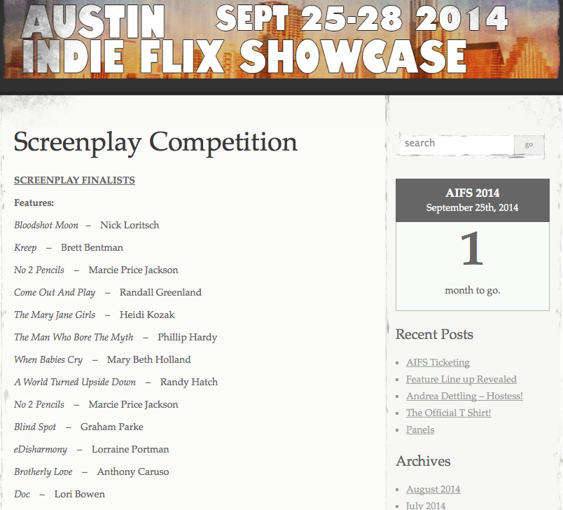 My screenplay DOC has advanced and is now a FINALIST at the Austin Indie Flix Showcase Screenplay Competition!