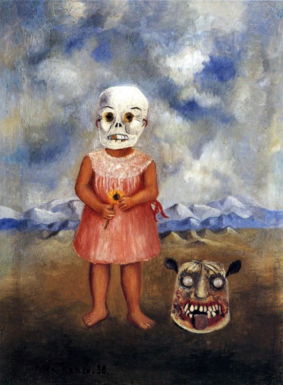 tamburina :      Frida Kahlo ,  Girl With A Death Mask (She Plays Alone) , 1938