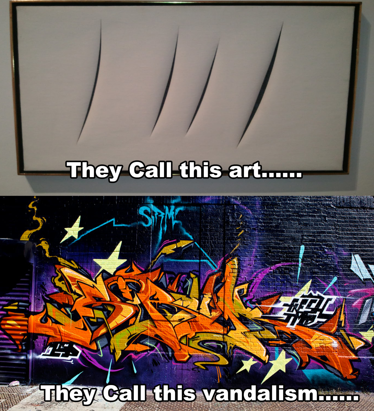 "chazzfox :      cijithegeek :      kyssthis16 :      yeezysdisciple :      youngbertreynolds :      thempress :           Maybe put it on a canvas instead of someone's property, and we can all be happy.     who paying for these canvases or the art programs so these kids can have that? Why should it matter if these run down buildings that never get fixed up anyway get graffiti'd?      Therein lies the issue. Art programs, both visual and performance based, are the first programs to be cut. Canvas ain't cheap. Neither are the supplies. Much of the graffiti that takes place IS on buildings that are run down. The gov't didn't place any value on these properties and yet get pissy with dudes ""vandalizing"" their shit. You can't have it both ways, ya dig.      My father was a garment contractor in LA. In the late 80s, he owned the building where he had his factory. He thought it would be a cool idea to commission local graffiti artists, usually young Black and Latino men looking to stay out of trouble, to paint murals on his buildings. After all, he runs a garment design/manufacturing company, and creative signage is great advertising.   One day, he showed up to the building and the city just painted over the murals without permission or notice.   First, the city told him he couldn't have graffiti art on HIS building because it brought down property value. After he complained, then they said: ok you can do this, but you need a permit. After he got the permit, then the city said: ok, but you can only use these artists.  Of course, these artists were all White graphic design students from USC, and of course they charged 3x more.   There is a prejudice against this type of art, and it's racial.  Banksy vandalizes folks buildings all the time, and folks treat him like the Messiah. He ain't doing nothing new that Black and Brown folks haven't done for decades.     This whole post…I just find it really interesting! And sad, too, but good thing to read.     I like what Banksy does, but I have to agree with the above. It's not just about the colour of the artist's skin, it's also about the prejudices of the audience.     Sarasota's ""Fast Life"" mural by MTO will be painted over."