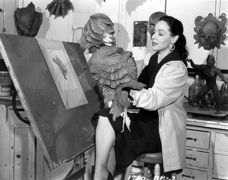beautyandterrordance :      Milicent Patrick was a commercial artist, fashion designer, model, illustrator of children's books, and Disney animator   (Walt Disney's first female animator.)     Milicent Patrick also acted in 21 feature films and dozens of television shows, but is probably most well known for designing the  Creature of the Black Lagoon . Milicent also designed the Metaluna Mutant from  This Island Earth , the Xenomorph for  It Came from Outer Space  and also worked on  Abbott and Costello Meet Frankenstein .  Born: Mildred Elizabeth Fulvia di Rossi November 11, 1915 - February 24, 1998    — via  William Forsche . (via    arcaneimages  )