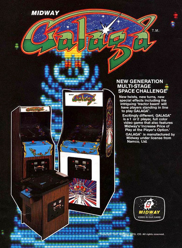 it8bit: Classic Ads: Galaga Galaga (ギャラガ ) is a fixed shooter arcade game developed and published by Namco in Japan and published by Midway in North America in 1981. It is the sequel to Galaxian, released in 1979.  The world record high score for Galaga was set in June 1989 by Stephen Krogman of Boca Raton, Florida. Krogman scored 15,999,990 points based on Marathon rules. On January 1, 2011 Andrew Laidlaw of Kirkland, WA claimed the Tournament setting world record (five ships only, set to greatest difficulty) with a score of 4,525,150 points. [Wiki] One of my top favourite games EVAR.