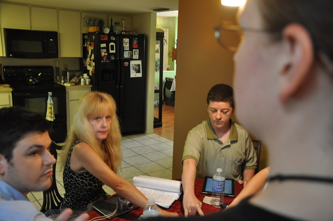 Today's behind the scenes photo is of me directing the cast in a rehearsal before they've all gotten into the make-up chair. From left: Lance Flint, Linnea Quigley, Shawn McBee, and my left side. Not pictured: Melanie Robel and Laura D'Anieri.    Click here if you haven't seen the teaser yet.